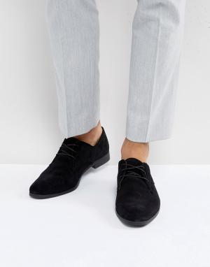 Zign Черные замшевые туфли на шнуровке. Цвет: черный