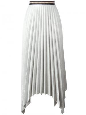 Плиссированная асимметричная юбка Aviù. Цвет: серый
