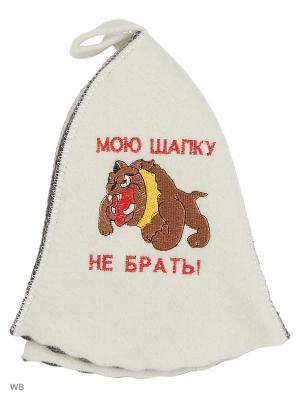 Шапка для бани с вышивкой в косметичке Мою шапку не брать Метиз. Цвет: белый, серый