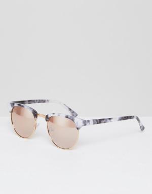 New Look Солнцезащитные очки кошачий глаз в мраморной оправе. Цвет: черный