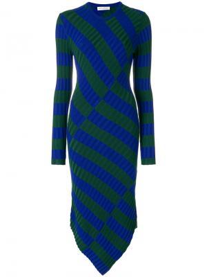 Асимметричное платье в полоску Altuzarra. Цвет: синий
