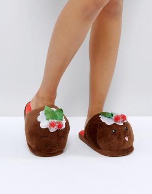 ASOS Тапочки с рождественским дизайном NUTTY PUDS. Цвет: коричневый