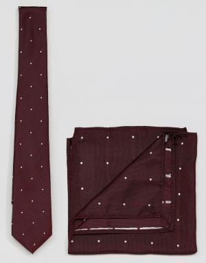 ASOS Галстук и платок-паше в горошек комплекте. Цвет: красный