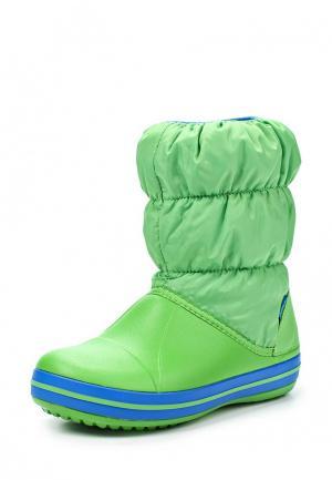 Дутики Crocs. Цвет: зеленый
