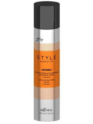 Style Perfetto Лак без газа экстра фиксаци Definer 350мл. Kaaral. Цвет: серебристый, оранжевый