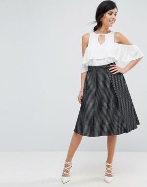 Closet London Жаккардовая юбка мини цвета металлик. Цвет: черный