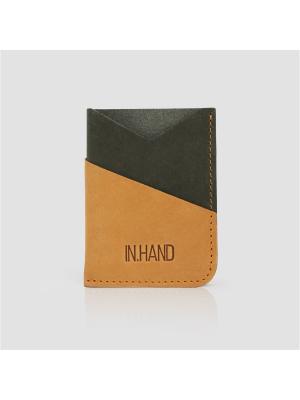 Картхолдер карман комбинированный IN.HAND. Цвет: хаки, оранжевый