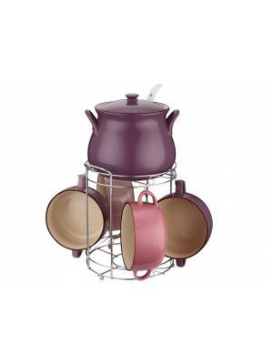 Набор керамических супниц на подставке Elff Ceramics. Цвет: сиреневый