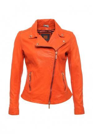 Куртка кожаная Boss Orange. Цвет: оранжевый
