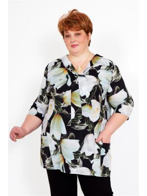 Блузка Lika Dress. Цвет: черный, светло-серый, темно-зеленый