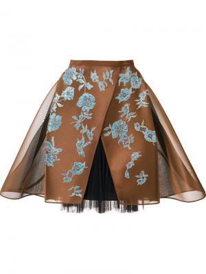 Кринолиновая кружевная юбка Delpozo. Цвет: коричневый