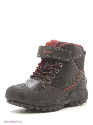 Спортивные ботинки GEOX. Цвет: черный, красный