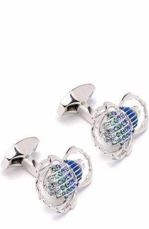 Запонки с кристаллами Swarovski Tateossian. Цвет: синий