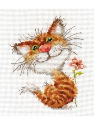 Набор для вышивания Кисочка  12х14 см Алиса. Цвет: белый, темно-коричневый, светло-серый, рыжий