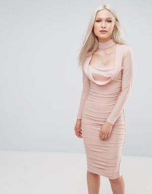 AX Paris Платье с длинными рукавами из шелковистой ткани. Цвет: розовый