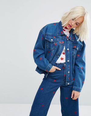 Lazy Oaf Комбинируемая джинсовая оверсайз-куртка с сердечками - Синий 6035664