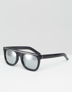 7X Черные солнцезащитные очки с плоским верхом. Цвет: черный