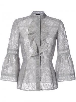 Кружевная блузка с оборками J. Mendel. Цвет: серый