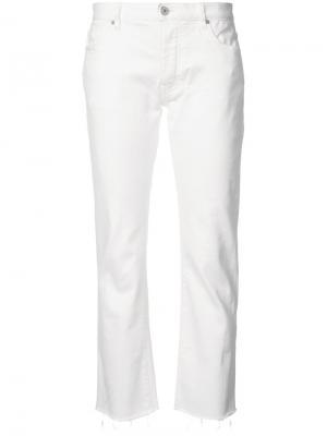 Потертые укороченные джинсы Nili Lotan. Цвет: белый