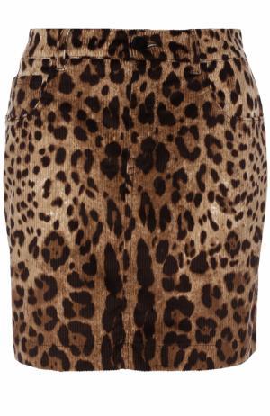 Вельветовая мини-юбка с леопардовым принтом Dolce & Gabbana. Цвет: леопардовый