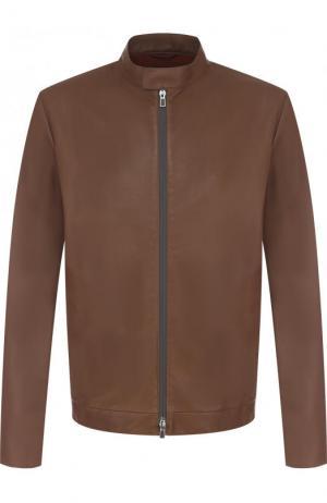 Кожаная куртка с воротником-стойкой Loro Piana. Цвет: коричневый