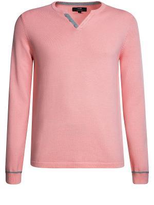 Пуловер Oodji. Цвет: розовый, серый