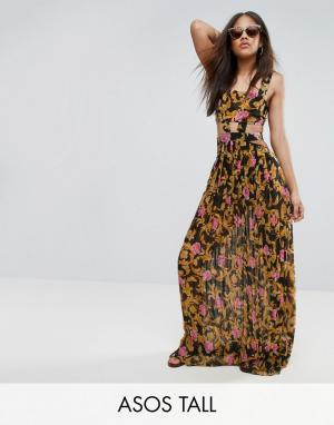 ASOS Tall Пляжное платье макси с принтом в стиле барокко, вырезами и юбкой плисс. Цвет: мульти