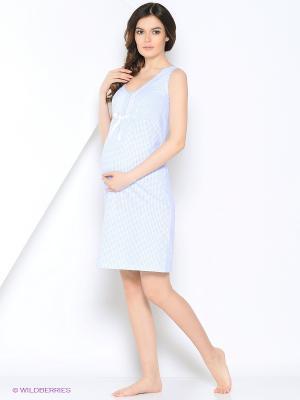 Ночная сорочка для беременных и кормления 40 недель. Цвет: голубой