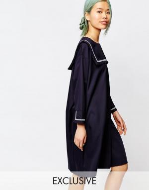 Zacro Платье с воротником в морском стиле. Цвет: темно-синий
