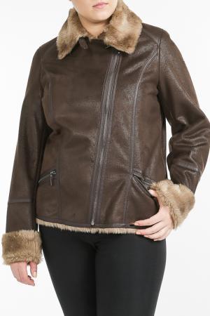 Меховая куртка Open End. Цвет: brown