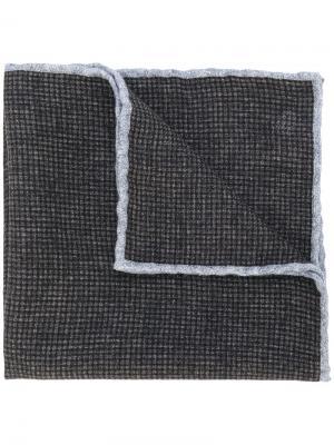 Карманный платок в клетку Eleventy. Цвет: коричневый