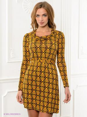Платье VILA JOY. Цвет: желтый, темно-коричневый