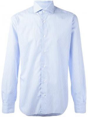 Рубашка в тонкую полоску Barba. Цвет: синий