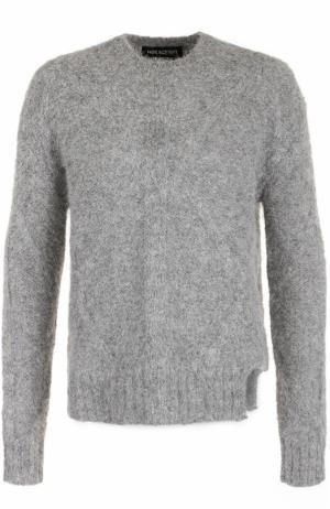 Шерстяной свитер фактурной вязки Neil Barrett. Цвет: серый