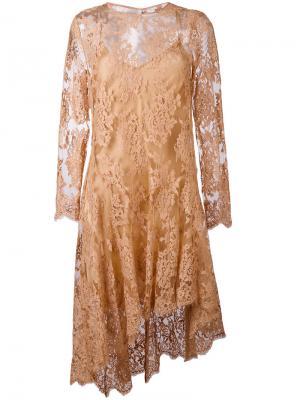 Асимметричное кружевное платье Zimmermann. Цвет: телесный