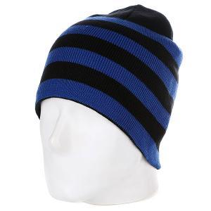 Шапка  2 Stripe Beanie Black/Royal Urban Classics. Цвет: черный,синий