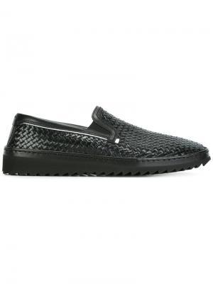 Плетеные кеды-слипон Dolce & Gabbana. Цвет: чёрный