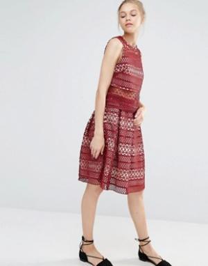 Endless Rose Кружевная плиссированная юбка. Цвет: красный