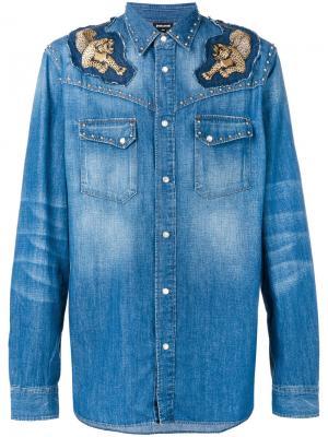 Джинсовая рубашка с аппликацией Just Cavalli. Цвет: синий