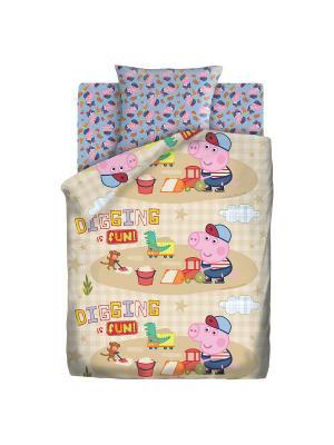 Комплект постельного белья 1,5 хлопок Песочница Свинка Пеппа. Цвет: бежевый, голубой