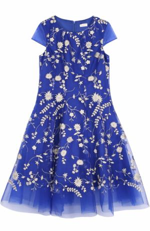 Многослойное макси-платье с цветочной вышивкой David Charles. Цвет: синий