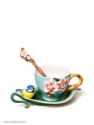 Чайная пара Pavone. Цвет: голубой (осн.), розовый