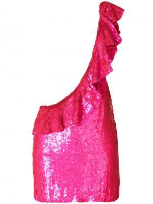 Неоновое платье на одно плечо Sidney Filles A Papa. Цвет: розовый и фиолетовый