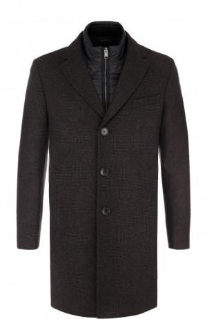Шерстяное пальто с подстежкой BOSS. Цвет: темно-коричневый
