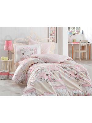 Кпб 1,5 сп. (Евро) поплин SONIA розовый HOBBY HOME COLLECTION. Цвет: розовый