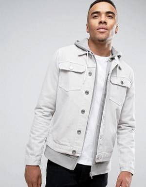 New Look Джинсовая куртка песочного цвета. Цвет: светло-серый