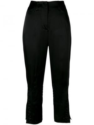 Укороченные брюки с вышивкой Fendi. Цвет: чёрный