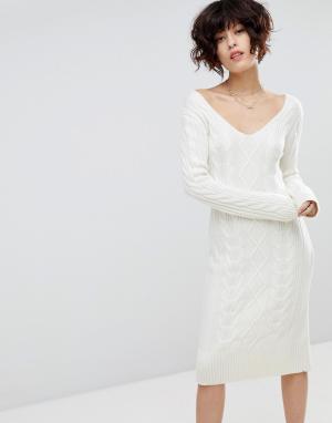 J.O.A Платье-джемпер. Цвет: кремовый