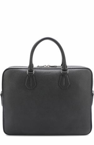 Кожаная сумка для ноутбука Bally. Цвет: черный
