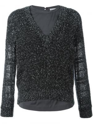 Фактурный свитер Brunello Cucinelli. Цвет: серый